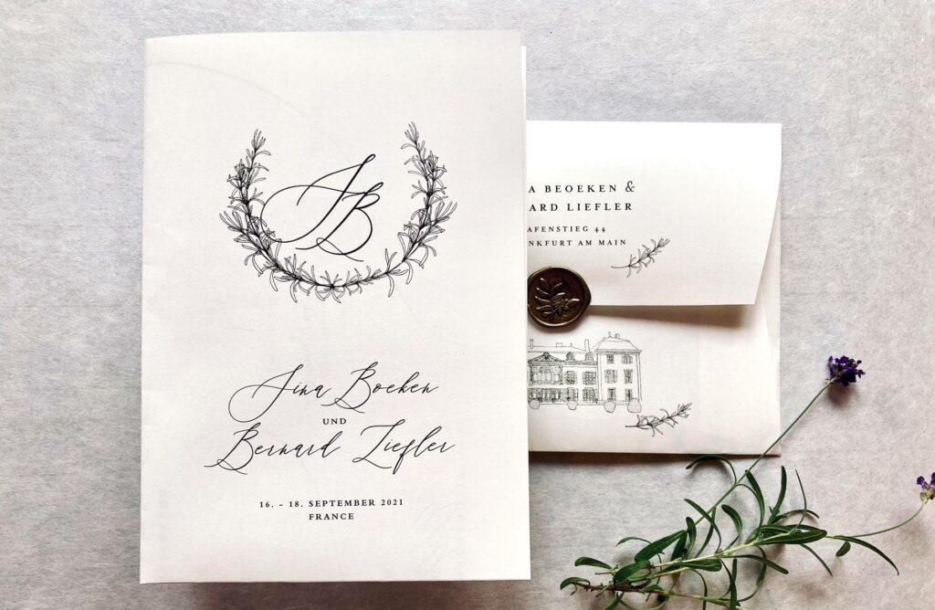 Wedding Poster Tenderly von Honeybird mit individualisierten Kuverts. Monogramm im Kranz