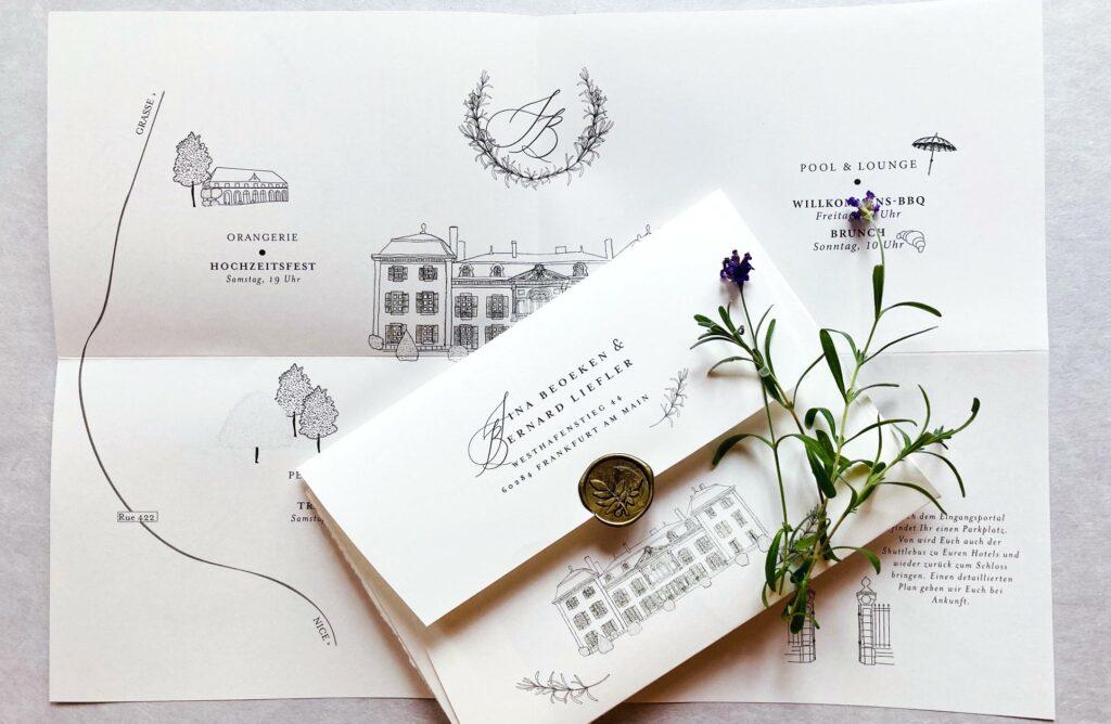 Wedding Poster Tenderly mit illustrierter locationskizze, Events mit Uhrzeit von Honeybird mit individualisierten Kuverts. Monogramm im Kranz