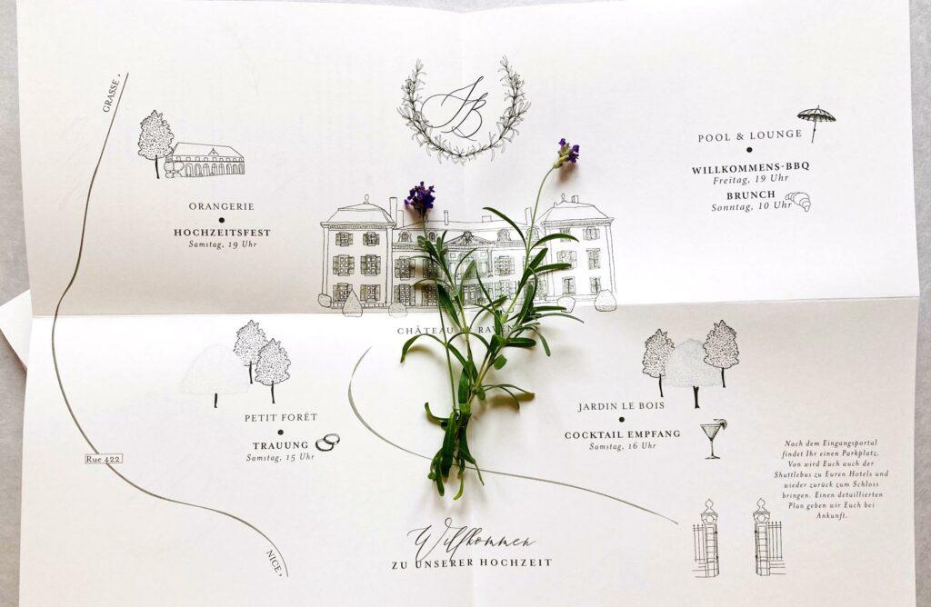 Wedding Poster Tenderly von Honeybird mit Illustration vom Schloss - Monogramm im Kranz