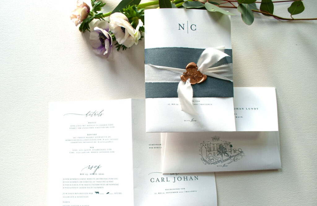 Honeybird Hochzeitsposter Weddingposter Mono mit handgefertigten Kuvert, vollflächig bedruckt mit Wedding Location
