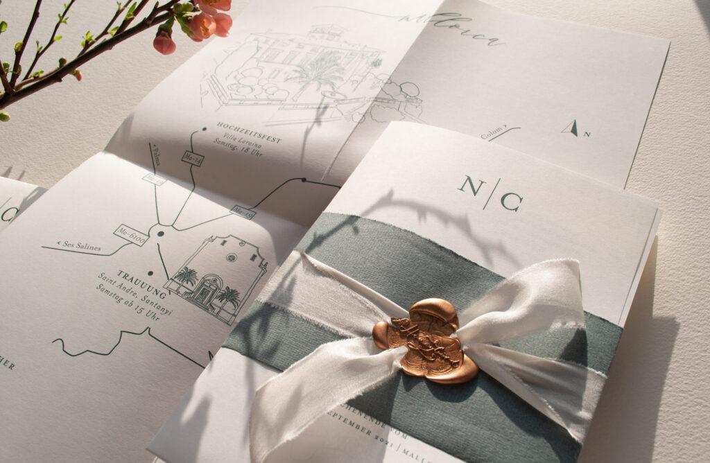 Honeybird pure und Elegantes Hochzeitsposter mit Banderole, Seidenband versiegelt mit einem goldenen Siegel Weddingposter Mono