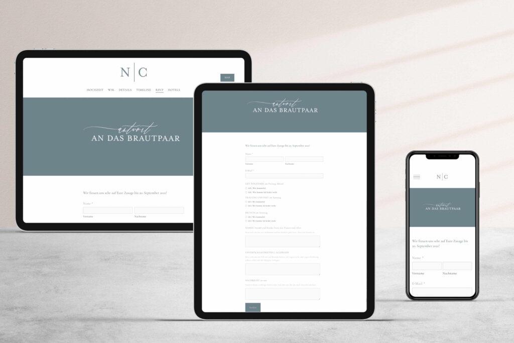 Honeybird Weddingwebsite mit Antwortformular für die Gäste und allen Infos, die Ihr für die Planung braucht.