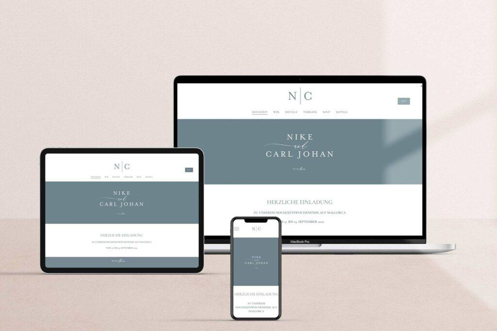 Honeybird Wedding Websites im Design Mono, passend zu Eurer Hochzeitspapeterie