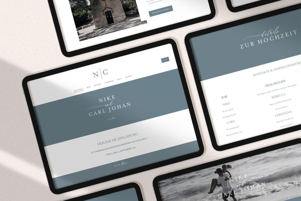 Honeybird Wedding Website im responsiven Design  für alle Endgeräte wie Laptop, Tablet und Smartphone.