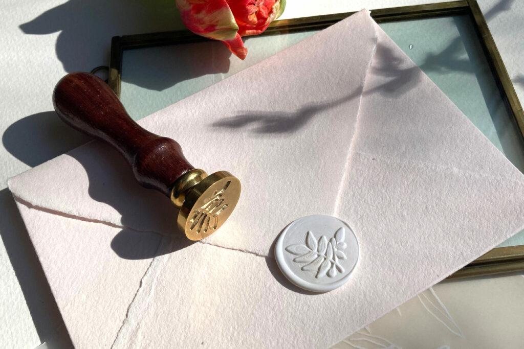 Honeybird Siegelliebe Wachssiegel Shell, was Seal stamp Olivenzweig