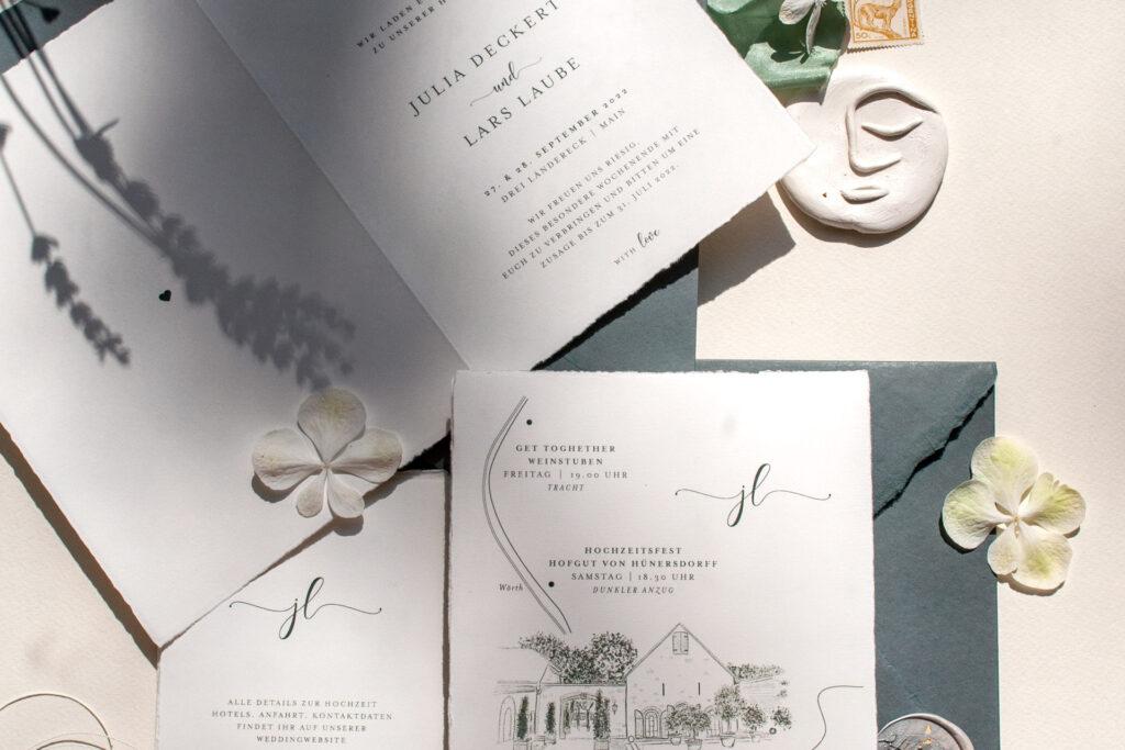 Honeybird Einladungskarten Hochzeit auf dem Weingut, dunkel grün
