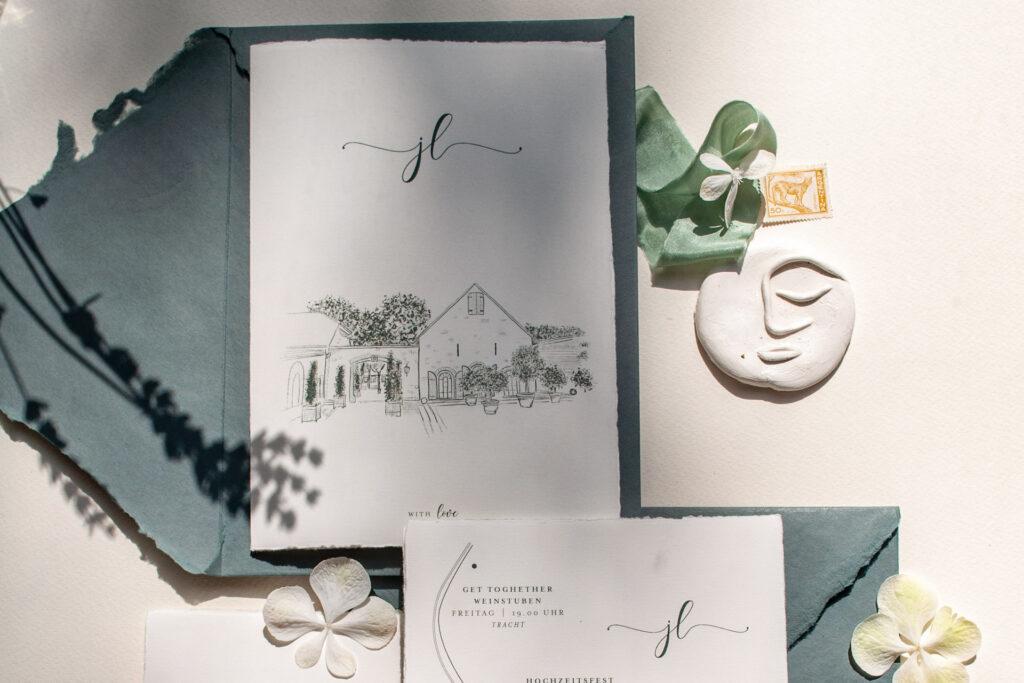 Locationillustration als Eycatcher für Eure Hochzeitskarten von Honeybird, Wedding Design Vineyard