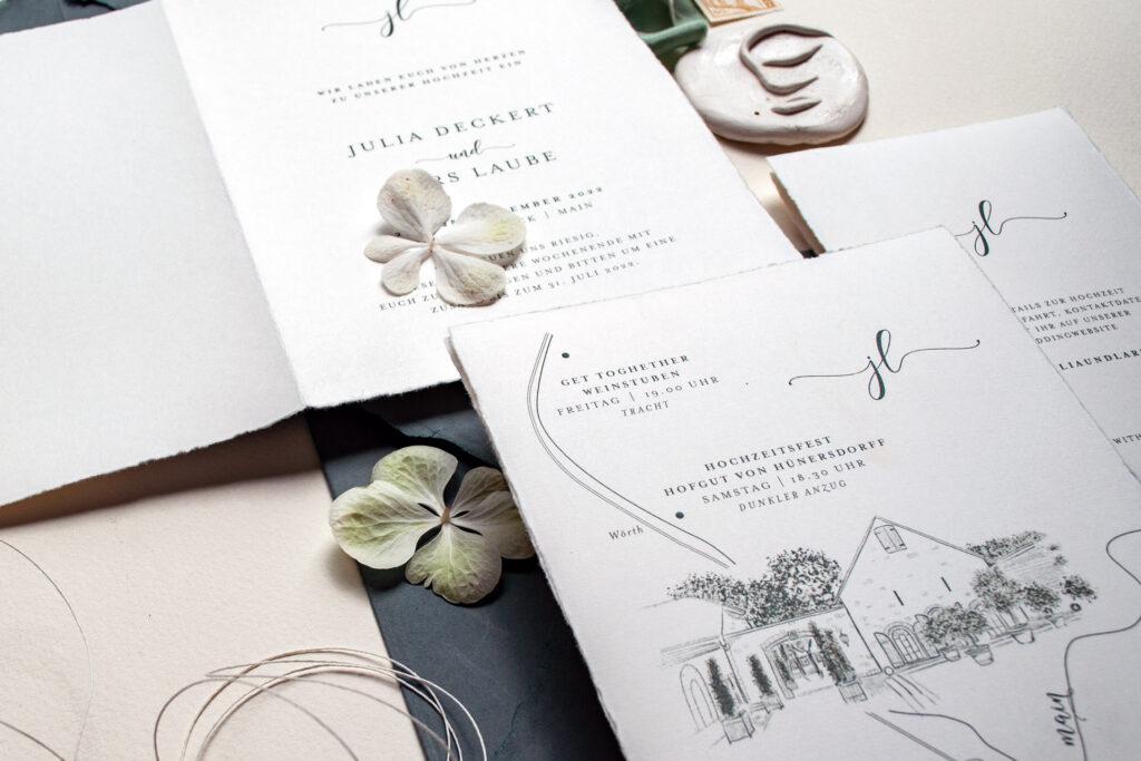 Einladungskarten mit Wedding MAP, Anfahrtsskizze, Hochzeitsprogramm und Timeline von Honeybird