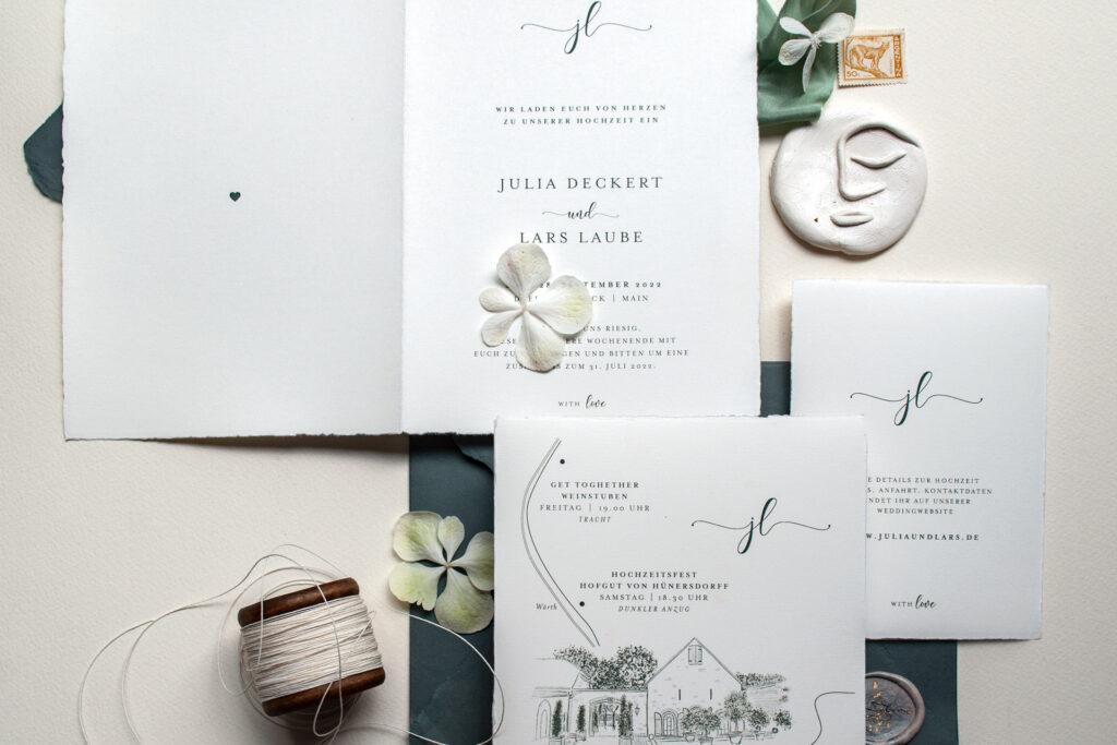 Invitation mit Wedding MAP, Anfahrtsskizze, Hochzeitsprogramm und Timelinevon Honeybird und Infokarte