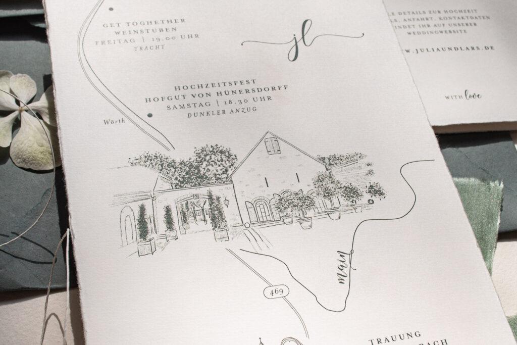 Wedding MAP, Anfahrtsskizze, Hochzeitsprogramm und Timeline von Honeybird